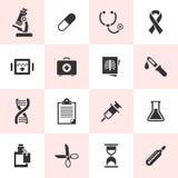 Uppsättning av svarta medicinska symboler Royaltyfri Bild