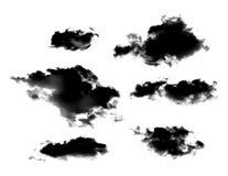 Uppsättning av svarta moln eller rök som isoleras på vit bakgrund arkivfoton