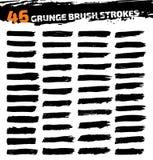 Uppsättning av svarta olika grungeborsteslaglängder Royaltyfria Foton