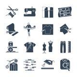 Uppsättning av svarta symboler dräkt, kläder, plaggtillverkning stock illustrationer