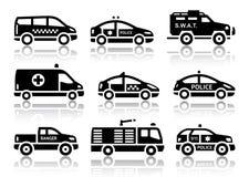 Uppsättning av svarta symboler för tjänste- bilar Royaltyfria Bilder
