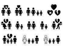 Uppsättning av svarta symboler med familjesituation stock illustrationer