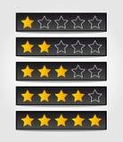 Uppsättning av svarta värderingsstjärnor Arkivbilder