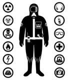 Uppsättning av svartbultar och skruv-muttrar på grafpapper med diagrammet Svart kontur av arbetaren i skyddande dräkt Säkerhets-  stock illustrationer