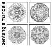 Uppsättning av svartvita abstrakta zentanglemandalas, rund etnisk modell Royaltyfria Bilder