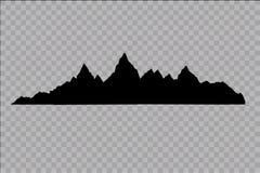 Uppsättning av svartvita bergkonturer Royaltyfria Bilder