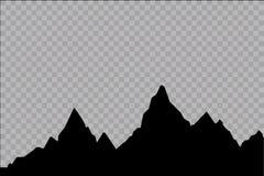 Uppsättning av svartvita bergkonturer Bakgrundsgräns av steniga berg också vektor för coreldrawillustration Arkivfoto