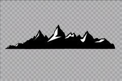 Uppsättning av svartvita bergkonturer Bakgrundsgräns av steniga berg också vektor för coreldrawillustration Royaltyfri Bild