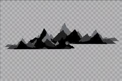 Uppsättning av svartvita bergkonturer Bakgrundsgräns av steniga berg också vektor för coreldrawillustration Arkivbilder