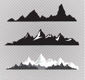 Uppsättning av svartvita bergkonturer Bakgrundsgräns av steniga berg också vektor för coreldrawillustration Fotografering för Bildbyråer
