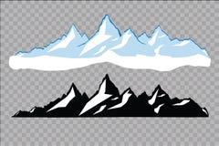 Uppsättning av svartvita bergkonturer Bakgrundsgräns av steniga berg också vektor för coreldrawillustration Arkivfoton