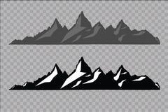 Uppsättning av svartvita bergkonturer Bakgrundsgräns av steniga berg också vektor för coreldrawillustration Royaltyfri Fotografi