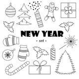 Uppsättning av svartvita beståndsdelar för ` s för nytt år royaltyfri illustrationer