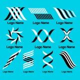 Uppsättning av svartvita enkla logoer Royaltyfri Foto