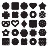 Uppsättning av svartvita ljusbruna kakor och smällarechiper stock illustrationer