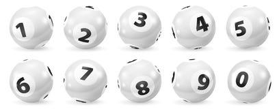 Uppsättning av svartvita nummerbollar för lotteri 0-9 stock illustrationer