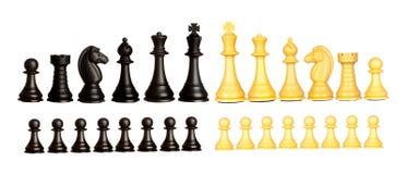 Uppsättning av svartvita schackstycken Arkivbild