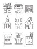 Uppsättning av svartvita symboler för vektorlägenhet av byggnader Royaltyfri Foto