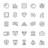 Uppsättning av symbolen för för översiktsslaglängdfinans och materiel Royaltyfri Foto