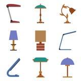 Uppsättning av symbolen för tabelllampa Fotografering för Bildbyråer
