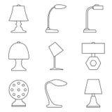 Uppsättning av symbolen för tabelllampa Arkivbilder