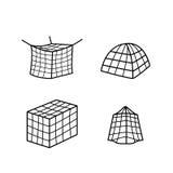 Uppsättning av symbolen och symbolet för stor myggasäng den netto Royaltyfria Foton