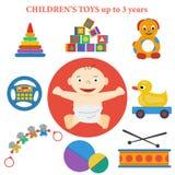 Uppsättning av symboler av barns leksaker Stock Illustrationer