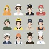Uppsättning av symboler av det manliga yrket för kvinnor Arkivbild