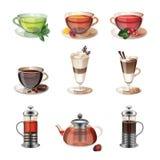 Uppsättning av symboler av kaffe, te och sötsaker stock illustrationer