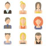 Uppsättning av symboler av kvinnor i plan stil Arkivfoto