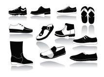 Uppsättning av symboler av mäns skor Arkivfoto