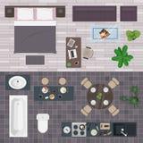 Uppsättning av symboler av möblemang för en lägenhet Stock Illustrationer