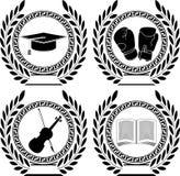 Uppsättning av symboler av prestationen stock illustrationer