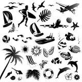 Uppsättning av symboler av sommaren royaltyfria bilder