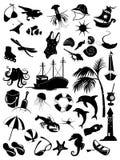 Uppsättning av symboler av sommaren Arkivbilder