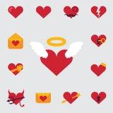 Uppsättning av symboler eller festligt inbjudankort för Valentine Day som presenterar de teckenförälskelsen, hjärtorna, änglarna  Arkivfoto
