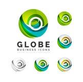 Uppsättning av symboler för affär för jordklotsfär- eller cirkellogo vektor illustrationer