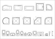 Uppsättning av symboler för arkitektoniska plan stock illustrationer