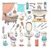 Uppsättning av symboler för badrum och för personlig hygien royaltyfri illustrationer