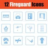 Uppsättning av symboler för brandservice royaltyfri illustrationer