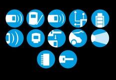 Uppsättning av symboler för elektroniska bilsystem stock illustrationer