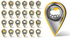 Uppsättning av 24 symboler för hashtag för lägenhet för krom för vektorväder realistiska metalliska på vit bakgrund Arkivfoton