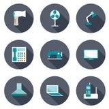 Uppsättning av symboler för hem- anordningar Fotografering för Bildbyråer