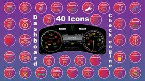 Uppsättning av symboler för instrumentbrädainstrumentklunga - dtckoder, motorfelindikatorer, illustration stock illustrationer