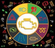 Uppsättning av symboler för instrumentbrädainstrumentklunga - dtckoder, motorfelindikatorer, illustration vektor illustrationer