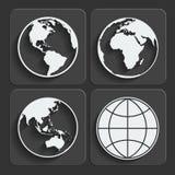Uppsättning av symboler för jordplanetjordklot. Vektor. Arkivfoton