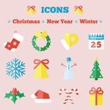 Uppsättning av symboler för jul och för nytt år Royaltyfria Foton