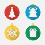 Uppsättning av symboler för jul och för nytt år, plana symboler Fotografering för Bildbyråer