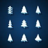 Uppsättning av symboler för julgranar 3d vektor illustrationer