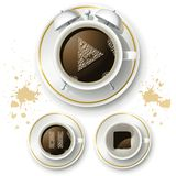 Uppsättning av symboler för kaffegodadag Arkivbilder